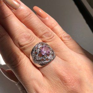 Bella Luce Ring 925 Sterling Hearts & Pink Stone